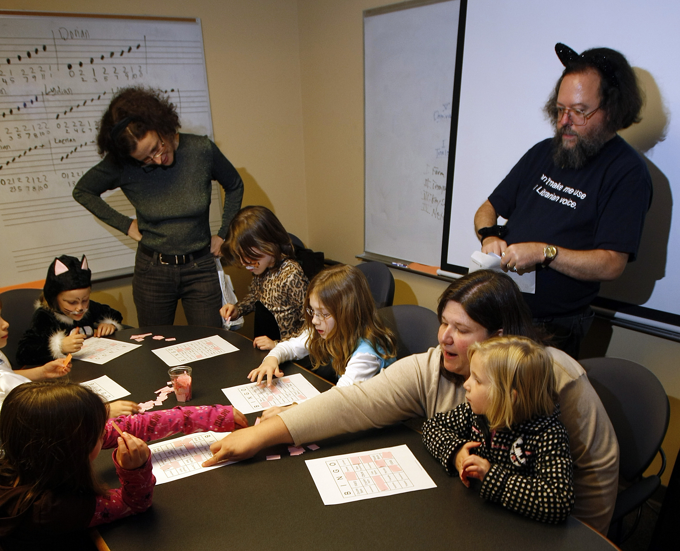 Robert Rich leads students in a game of music bingo during the 2008 Halloween Open House.