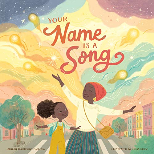 Cover of Your Name Is a Song featuring a colorful illustration with an African American woman wearing the hijab and her young daughter.