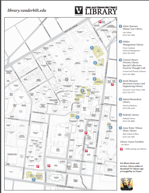 Libraries located on campus map