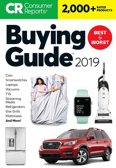 CR Buying Guide 2019  cover - images of a phone, fitbit, two people in a bed, a car, a refridgerator