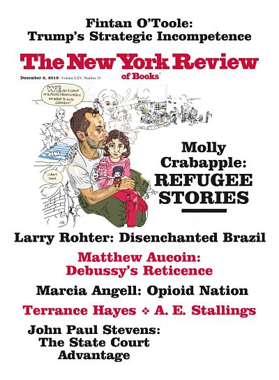 New York Review of Books, Dec. 6, 2019, cover - Man holding daughter(?) in lap, with story images behind them. Refugee stories article title highlighted.