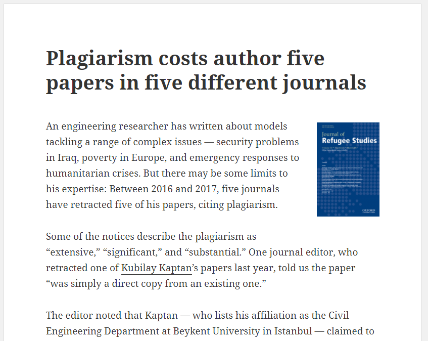Retraction Watch article about consequences of plagiarism in academia