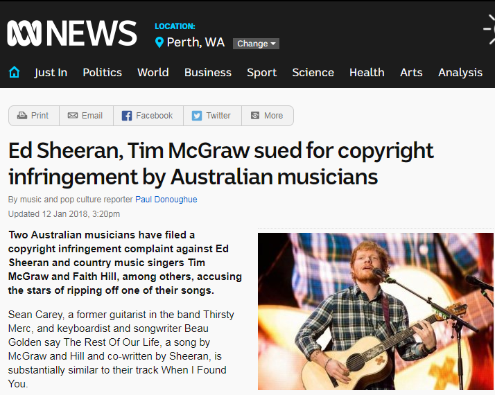 ABC news story on Ed Sheeran copyright claim