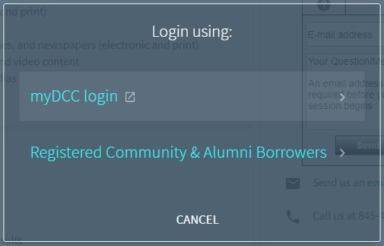 log-in selection