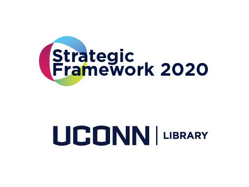 UConn Library Strategic Framework logo and UConn Library logo