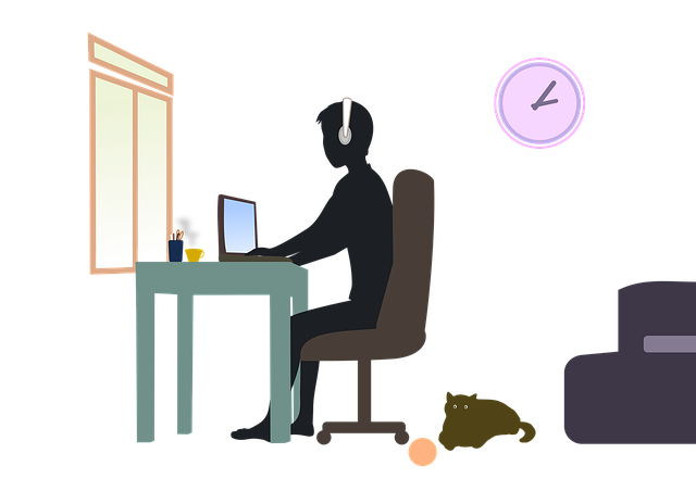 Cartoon of person working at a desk, wearing headphones, with a cat sitting on the floor