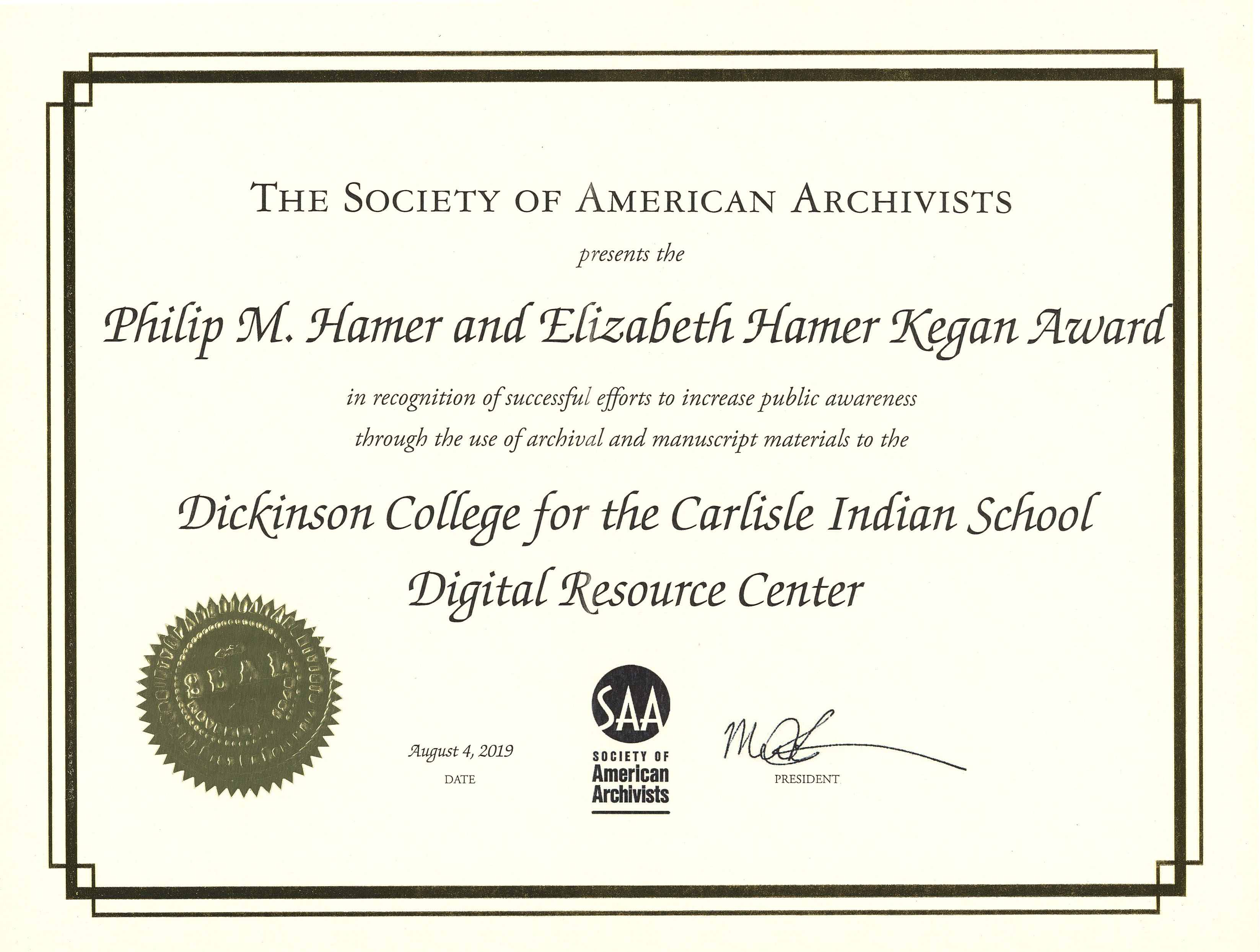 Certificate presenting an award to Dickinson College for the Carlisle Indian School Digital Resource Center