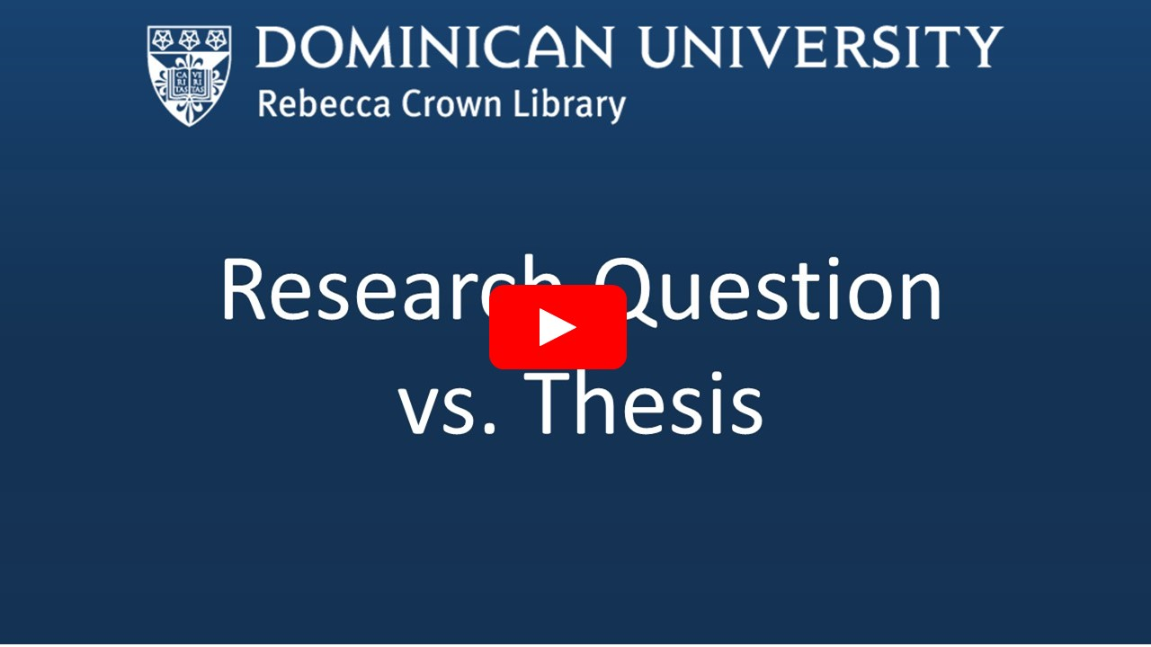 Research Question versus Thesis Video