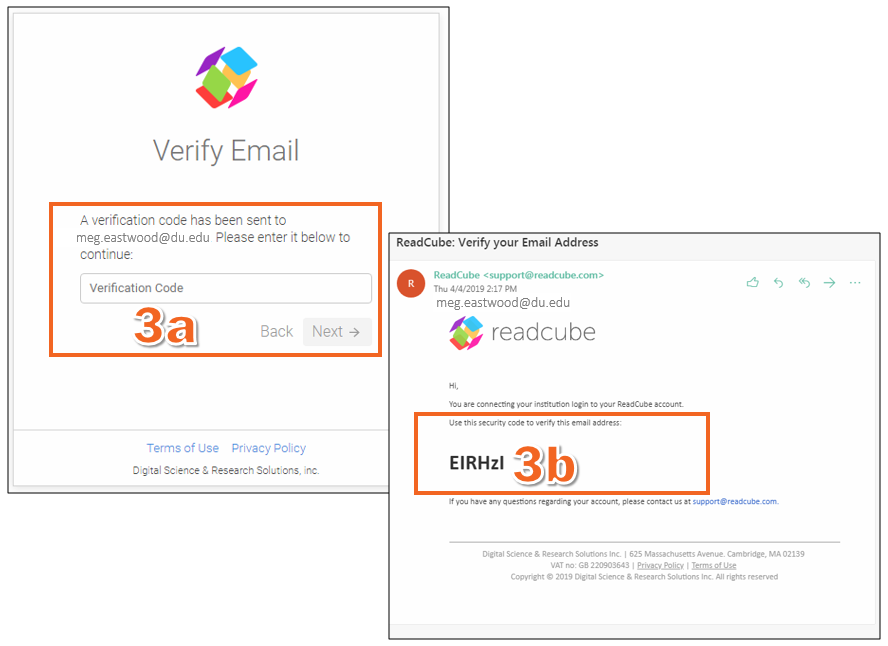 Look for an email from ReadCube asking you to verify your email address -- it should contain the verification code you need.