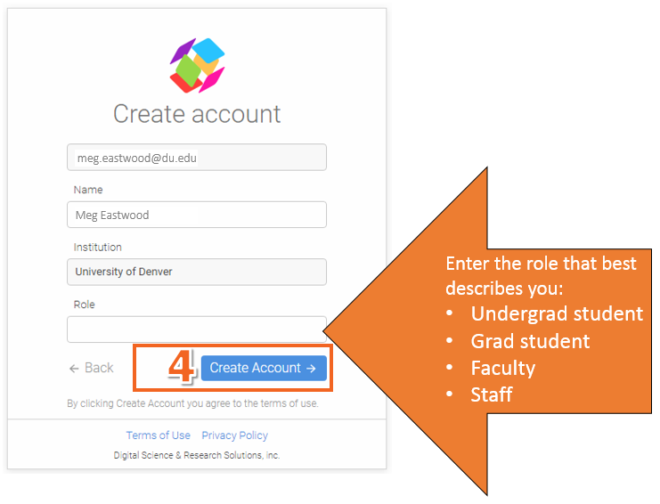 In the create account screen, when it asks for role, please enter one of the following roles: undergrad student, grad student, faculty, or staff.