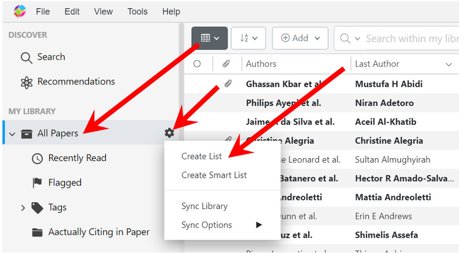 Right click on the All Papers icon and select Create List