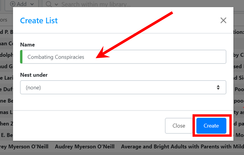 In the box that appears type in a name for your new list/folder and click create list