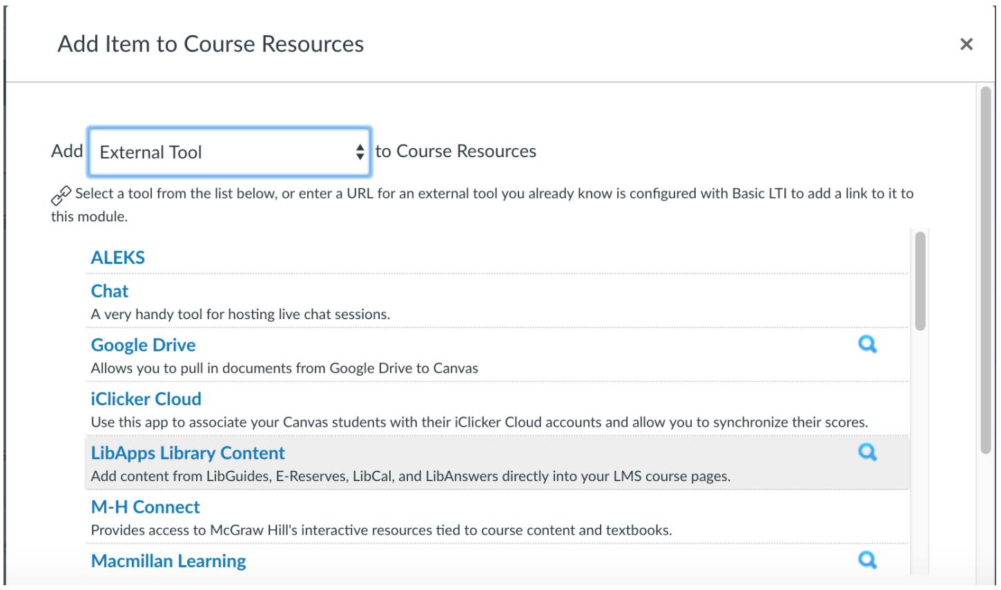 Add Item to Course Resources