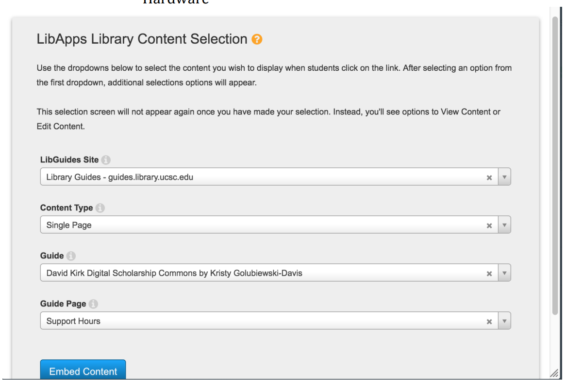LibApps Library Content Selection