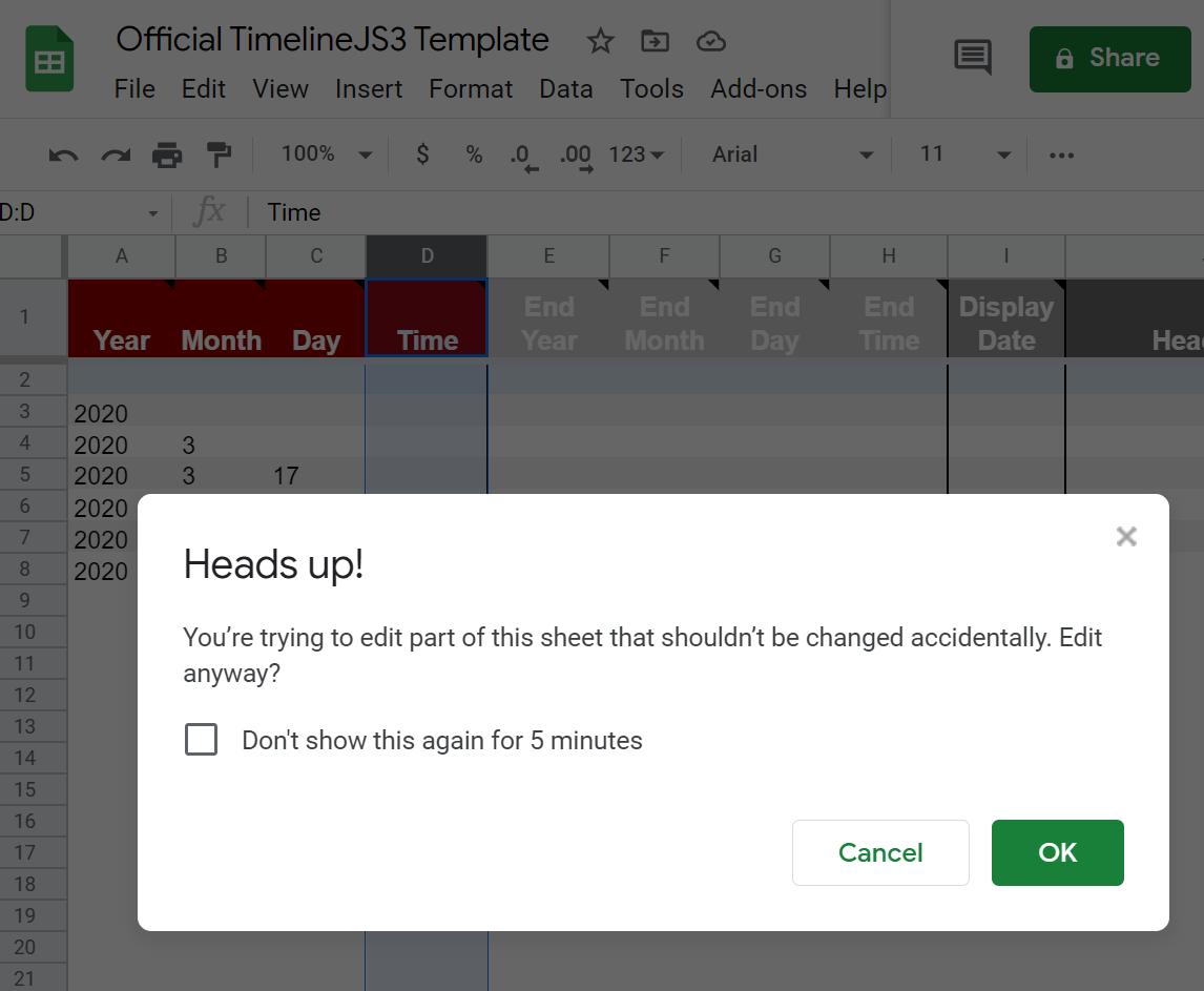 Google Sheets warning popup.