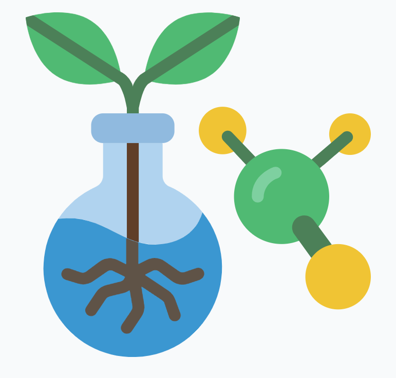 Illustration of a plant and lab equipment