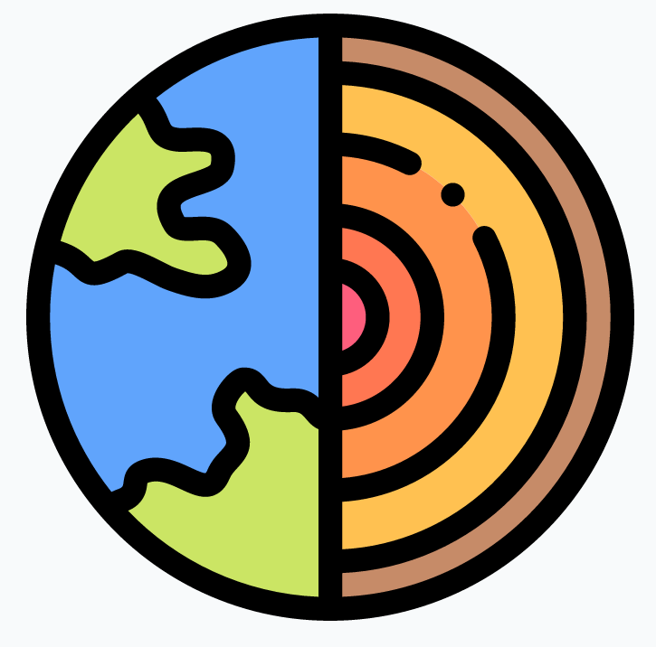 Illustration of the Earth with cutout showing its core