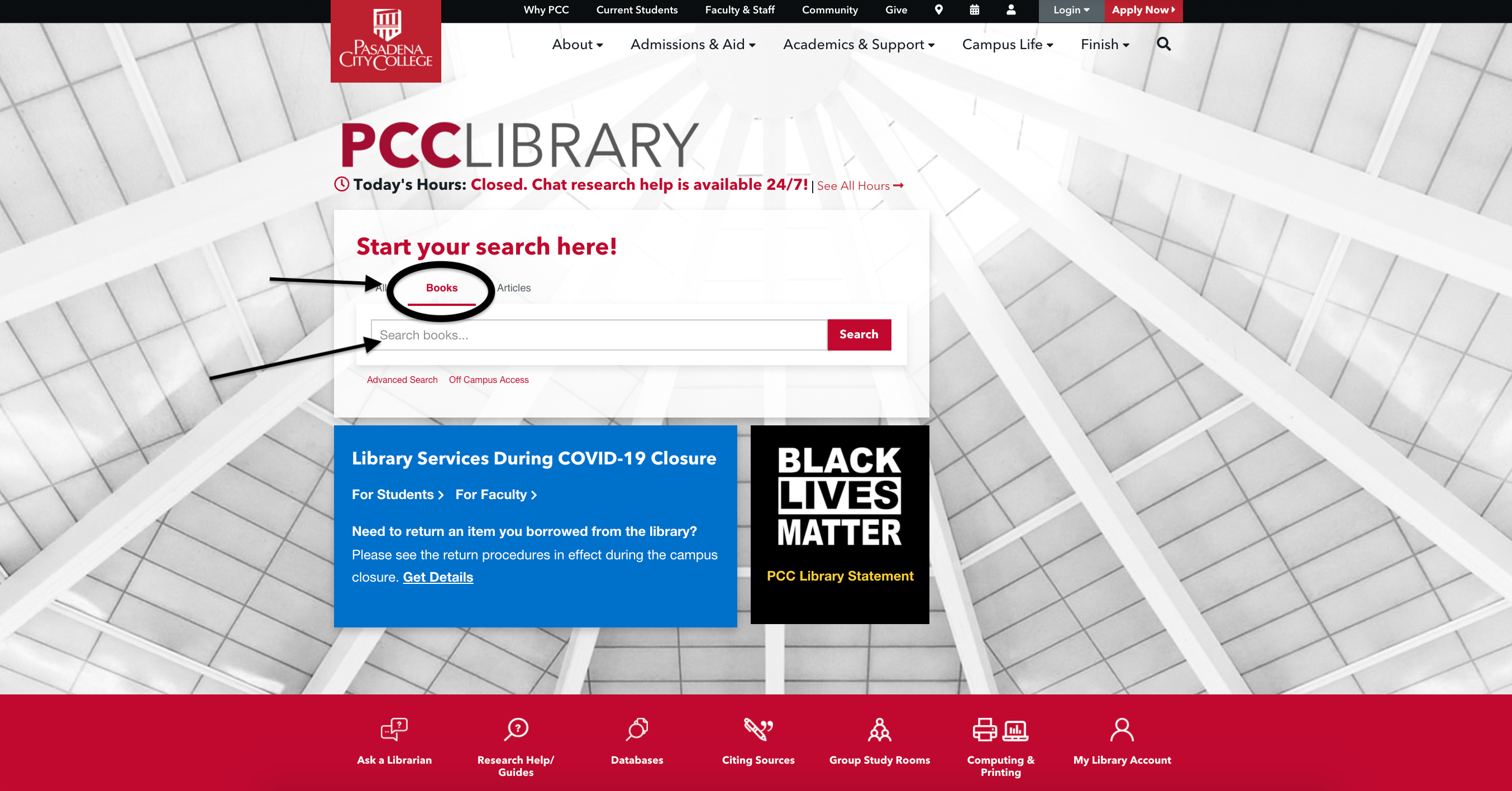 Screenshot of PCC Library homepage, with Books tab circled and arrow pointing to it.