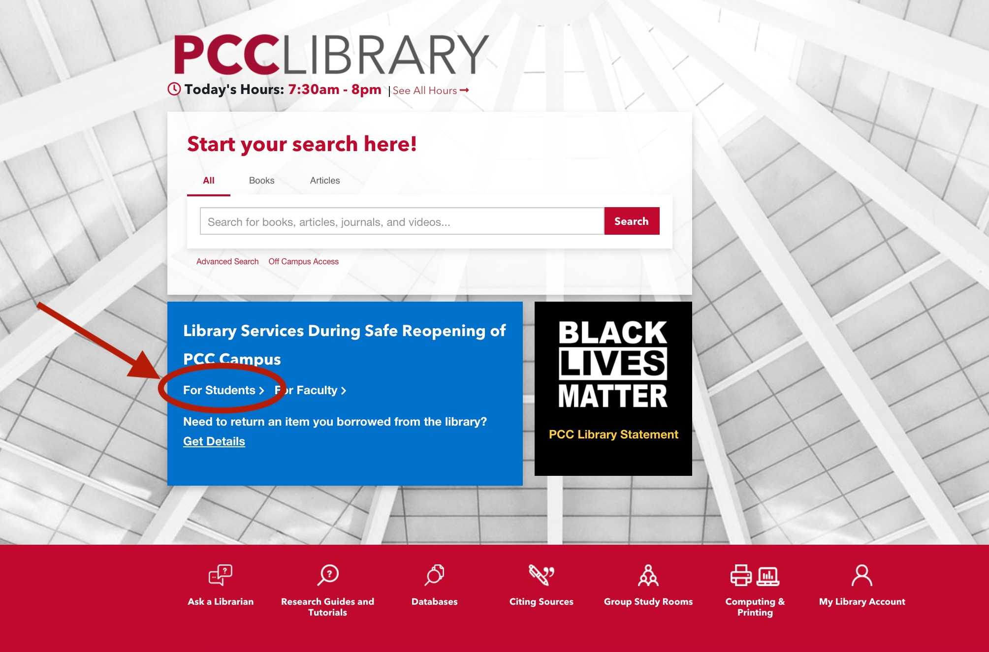 PCC Library homepage, with Library Services for Students highlighted.