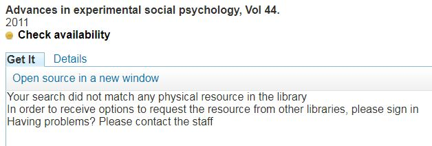 "Screenshot of book title with the words ""Your search did not match any physical resource in the library""."