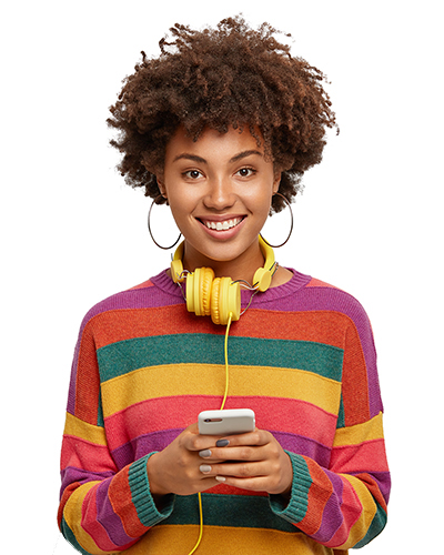 Student with phone