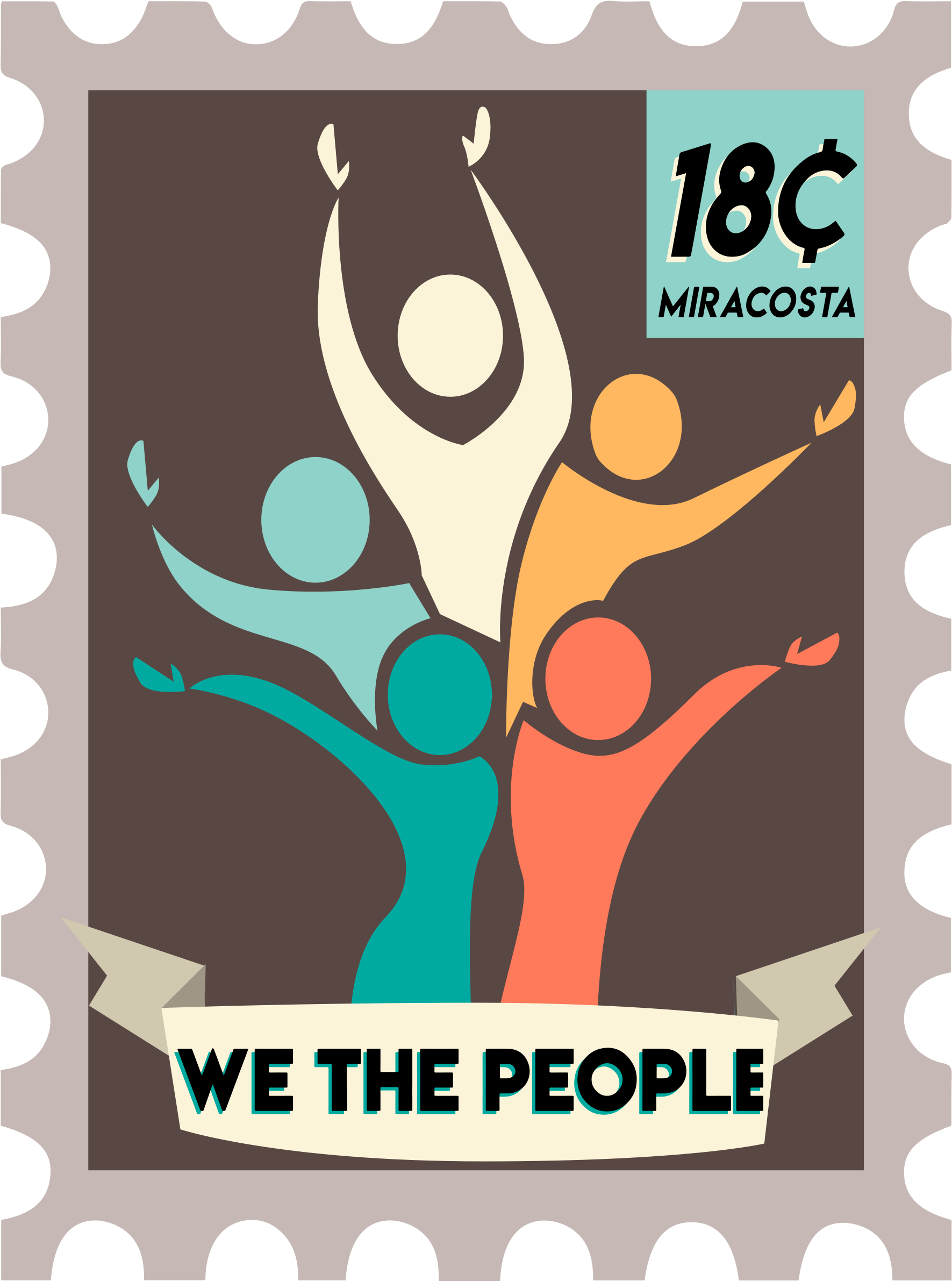 We the People Logo - Humans in different colors on grey stamp.
