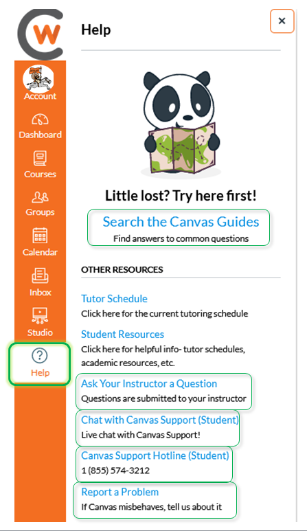 Canvas support menu for students