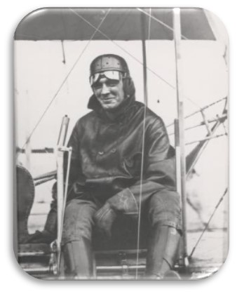 Image from SMS 322, Hap Arnold seated in a Wright Flyer c. 1911.