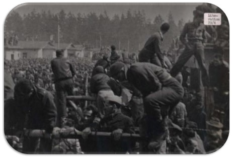 Photograph of a World War II era German run camp on the day it was liberated by the Allies