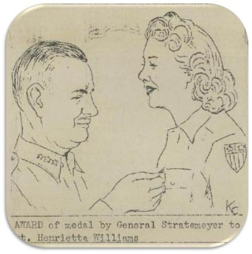 Drawing of General Stratemeyer pinning an award on Sgt. Henrietta Williams, from a WAC newsletter