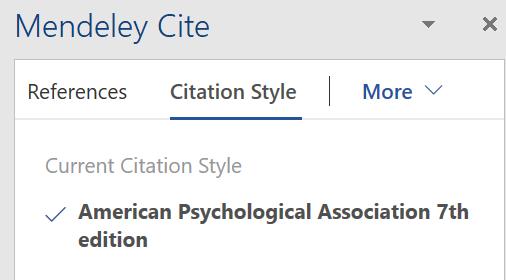 screenshot of Citation Style part of Mendeley Cite