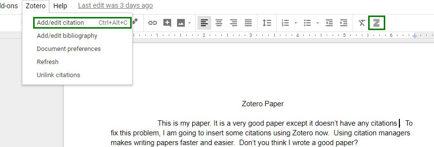 screenshot of Google Doc with Zotero menu open and Add/edit citation selected; Z icon on toolbar is also selected