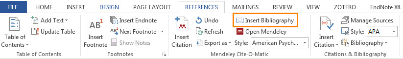screenshot of Insert Bibliography in References tab in Word highlighted