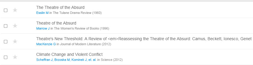 screenshot of online Mendeley library with the same references