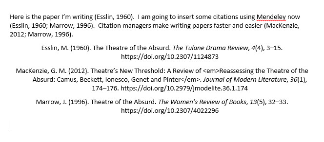 screenshot of Word document with bibliography in APA style