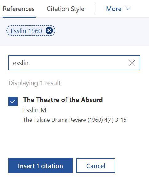 screenshot of Esslin paper being cited in Mendeley Cite plug-in