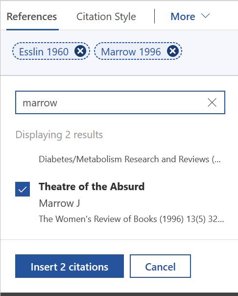 screenshot of Esslin and Marrow citations in Mendeley Cite
