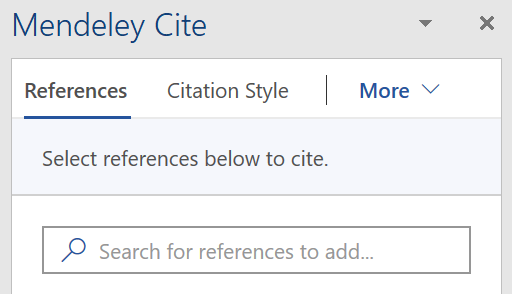 screenshot of Mendeley Cite plug-in with References search box