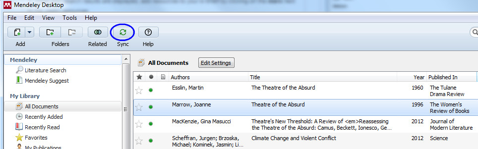 screenshot of Mendeley desktop with the green Sync button highlighted