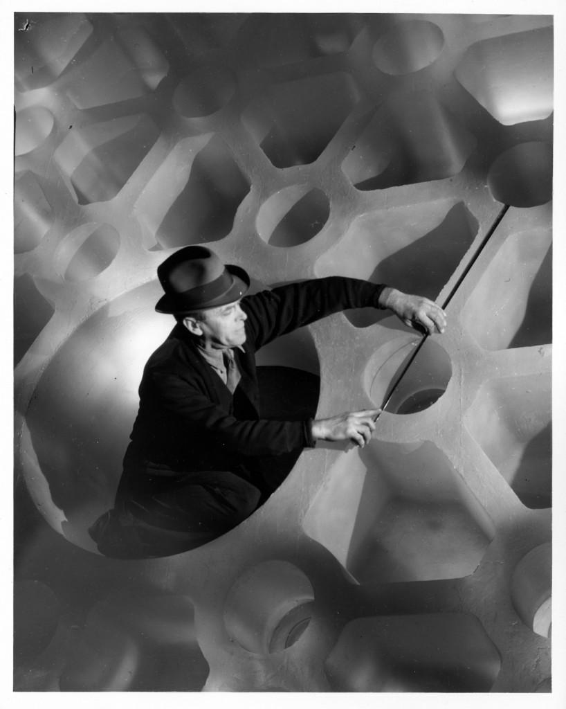 "Photograph of George Otis Gleason taking measurements of 200"" disk, Rakow Library bib no. 117727"