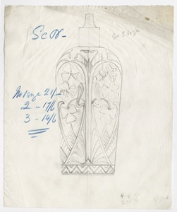 [Design drawing for scent bottle with clover or shamrock decoration]