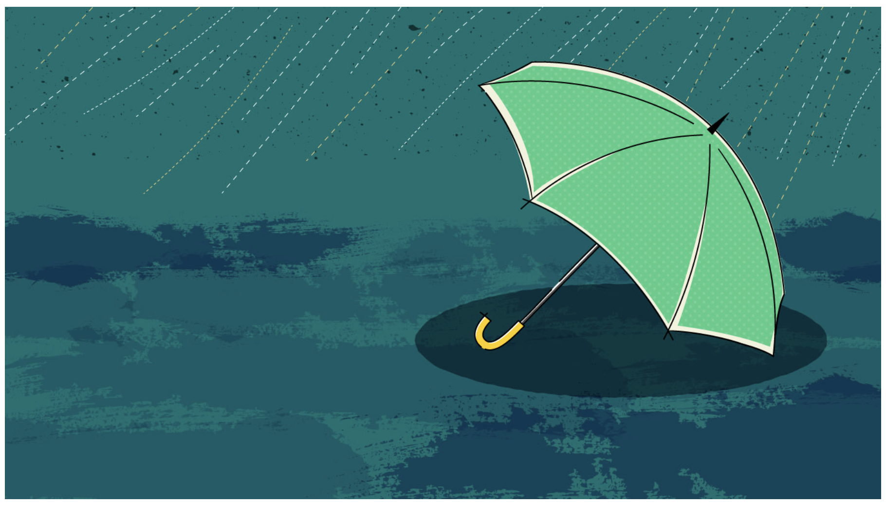 Umbrella lying on its side in the rain - Vector illustration