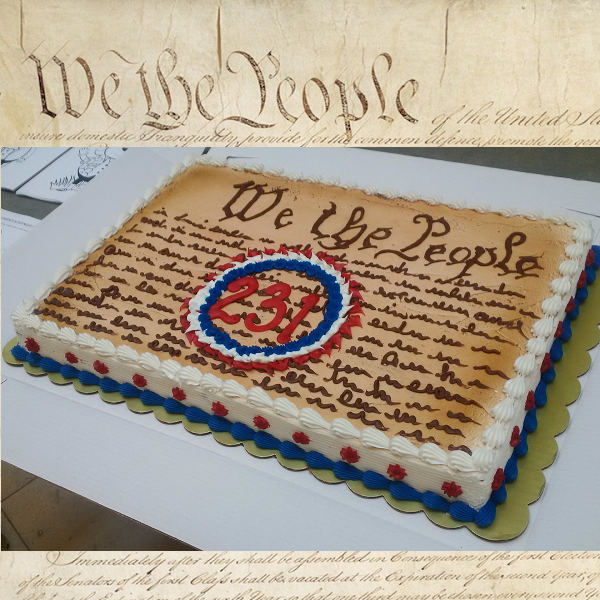 Constitution 231-year birthday cake