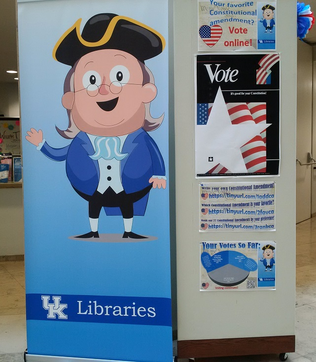 Ben Franklin mascot with Constitution exhibit