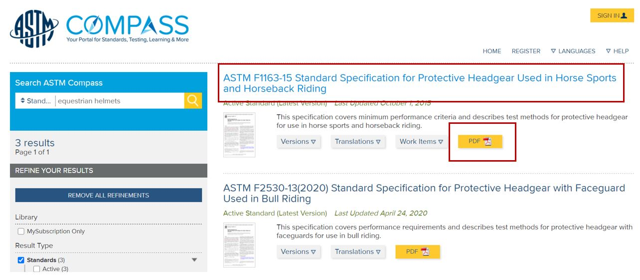 Screen shot of the results list in ASTM Compas  with the first standard highlighted.