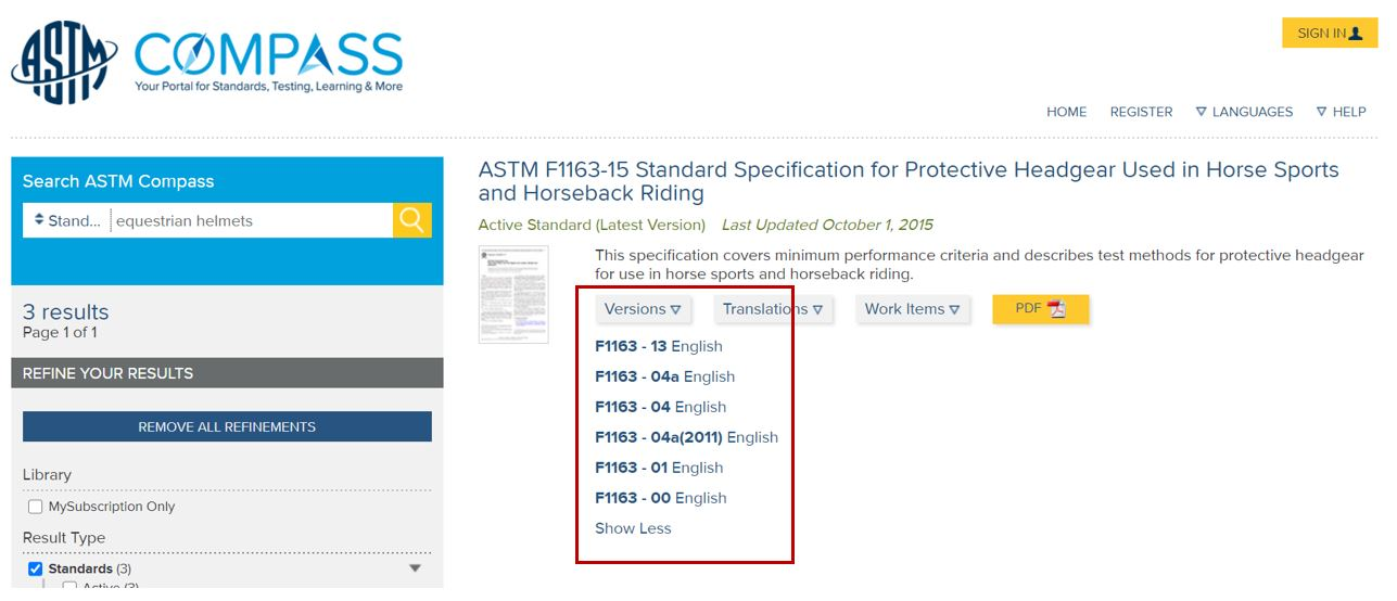 Screen shot of ASTM Compass results list with versions button highlighted