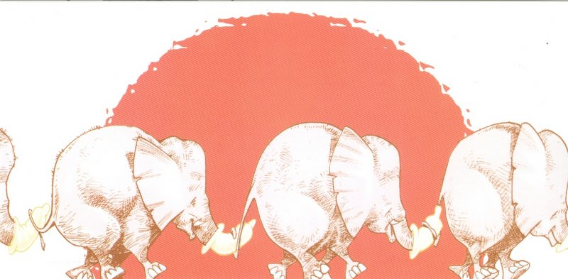 A postcard with elephants in a line holding tails in the trunks.  The trunks have condoms on them.