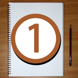A notepad and pencil with the number 1