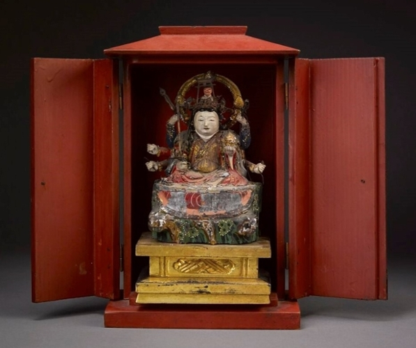 Zushi containing an image of the Buddhist deity Benzaiten, from the Oxford College Collection of Asian Artifacts