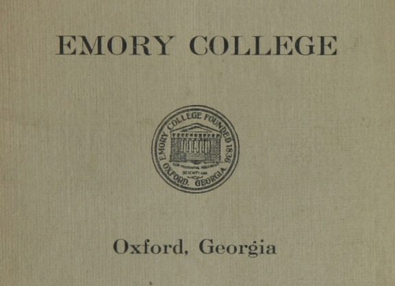 Cover image of an early Emory College catalog